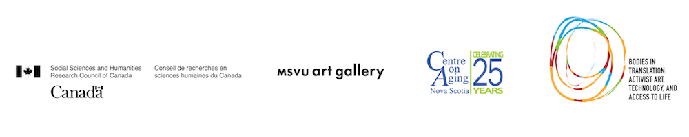 Social Sciences and Humanities Research Council of Canada logo, MSVU Art Gallery logo, Centre on Aging Nova Scotia logo, Bodies in Translation: Activist Art, Technology and Access to Life logo