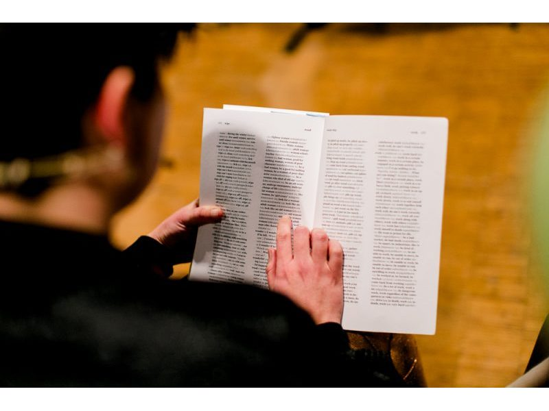 Vanessa reading a dictionary.