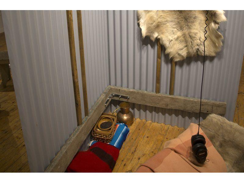 Fur pelt on metal siding